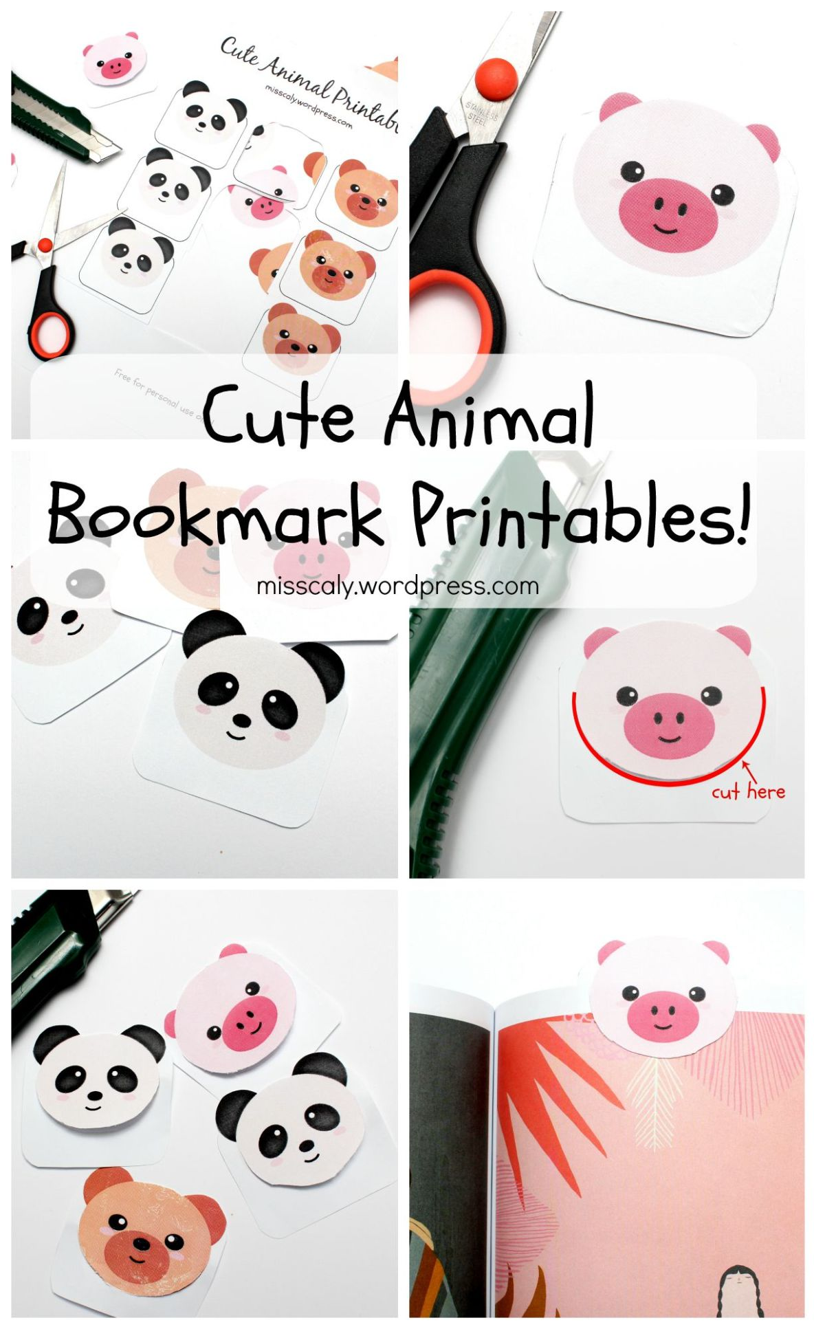 Cute animal bookmark printables