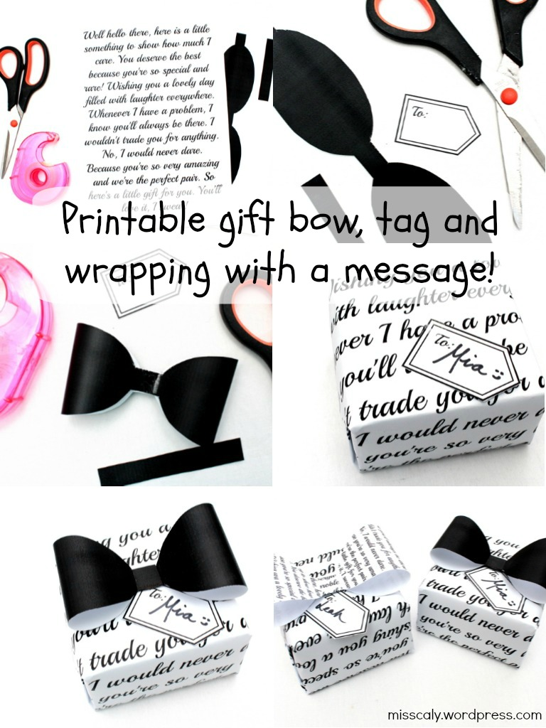 printable bow tag and wrapping