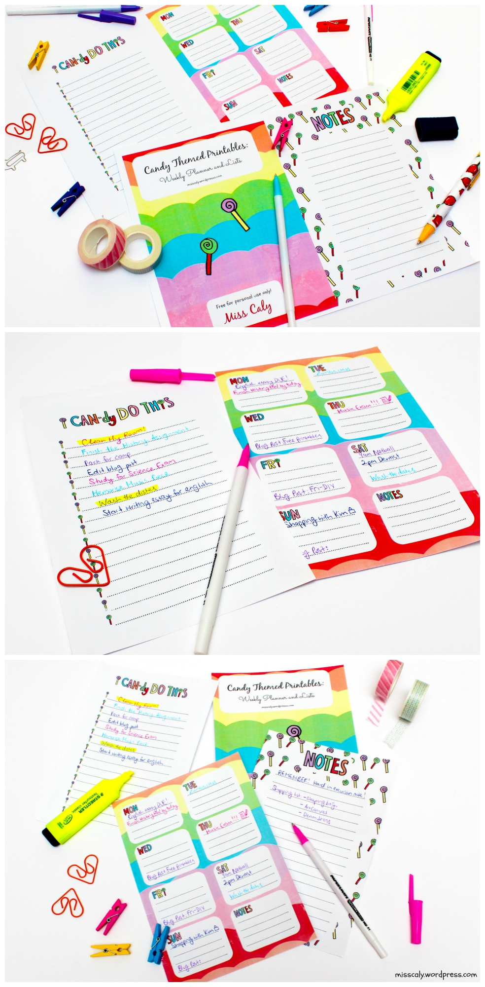 candy themed printable col