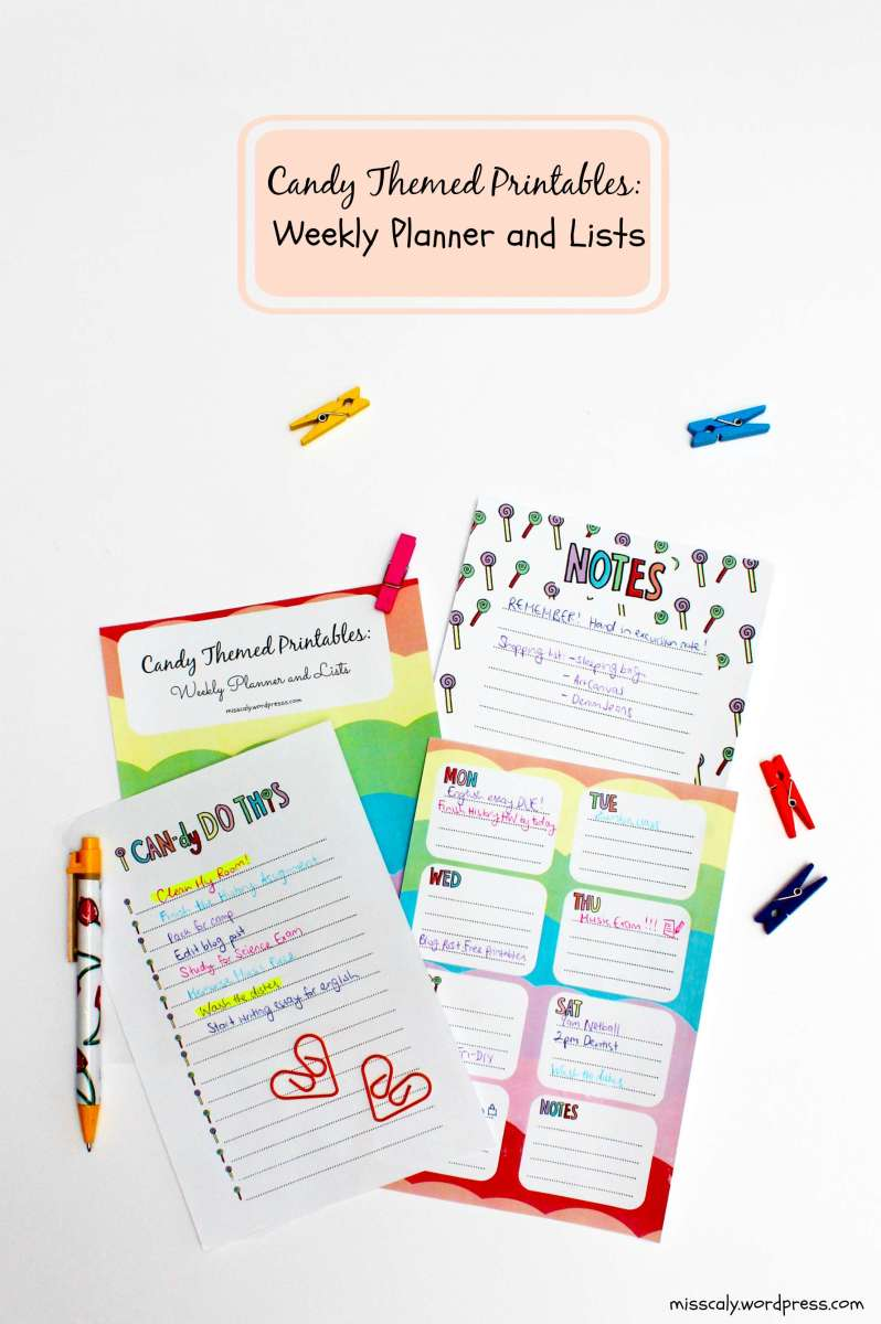 free candy themed printables  weekly planner and note