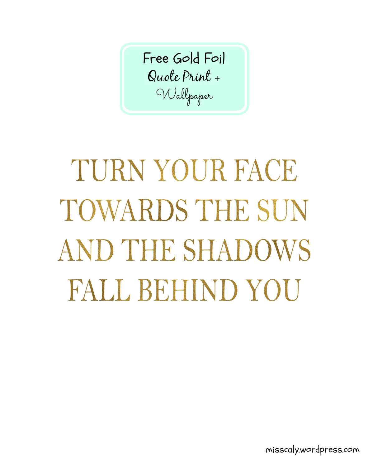 gold foil quote print front