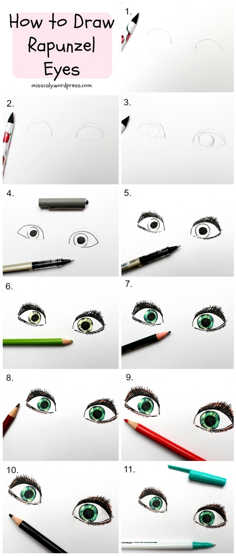 how to draw rapunzel eyes