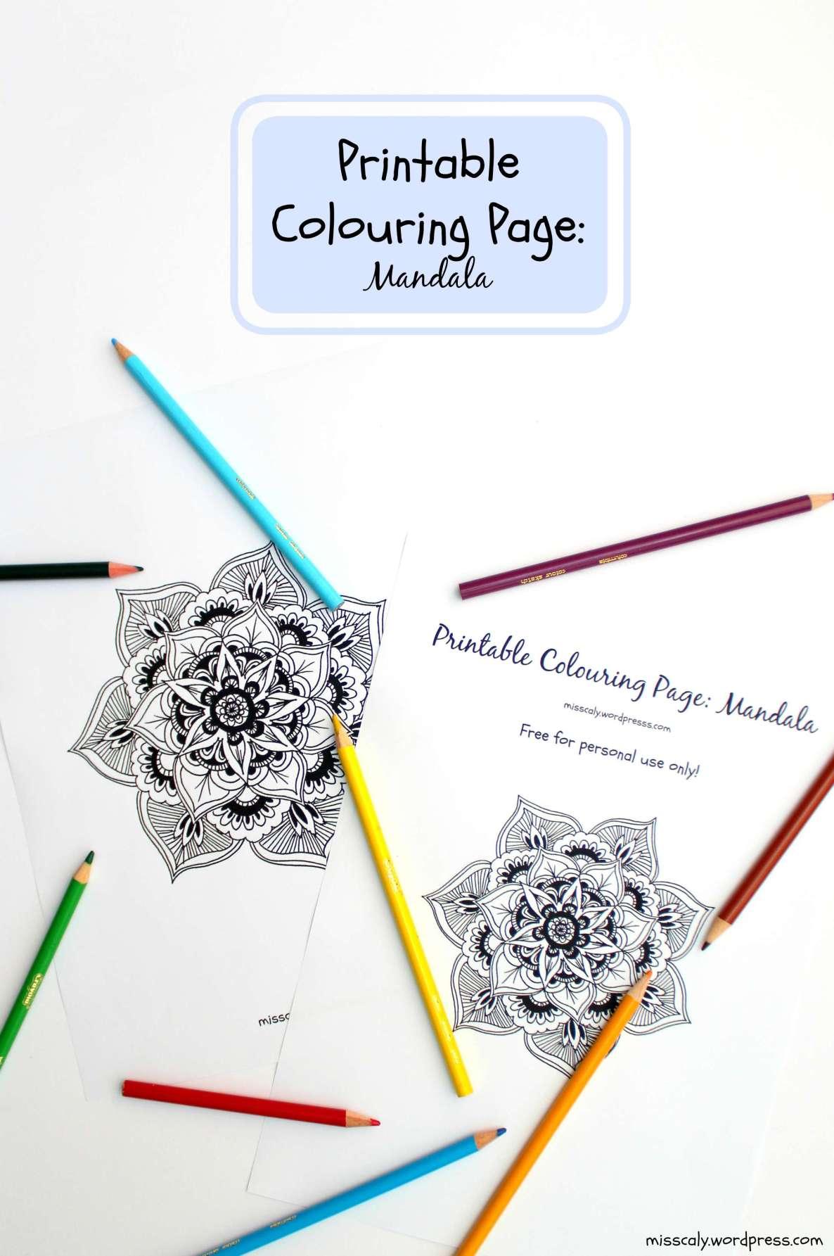 Printable Mandala colouring