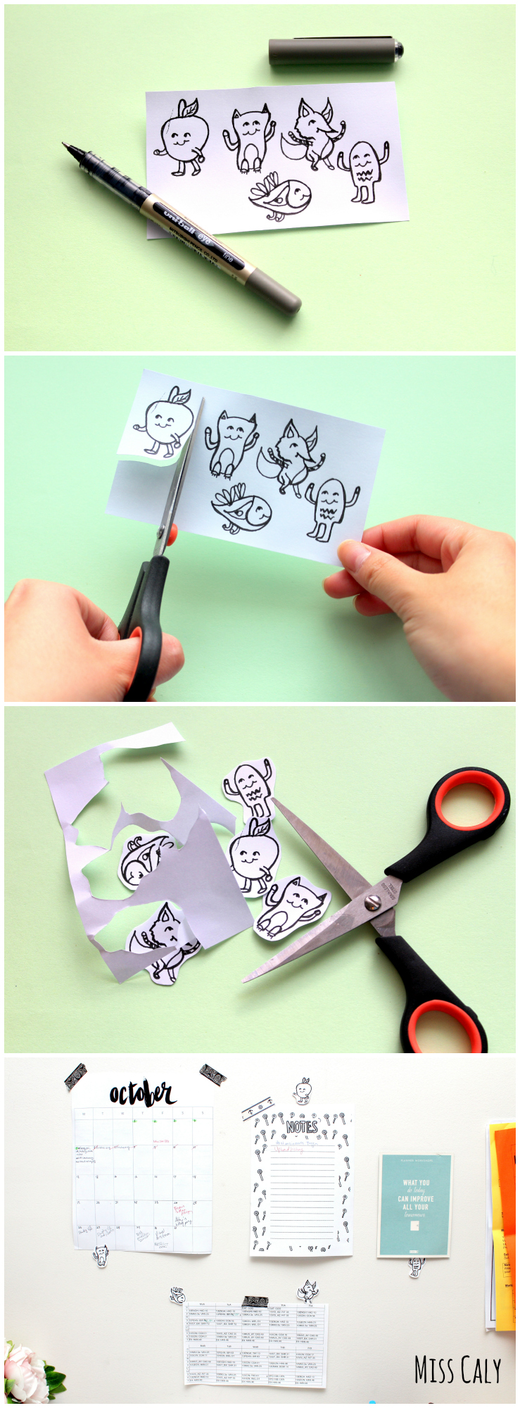 Adorable Printable Doodle Friends! They are here to brighten your day and are great for decorating your workspace