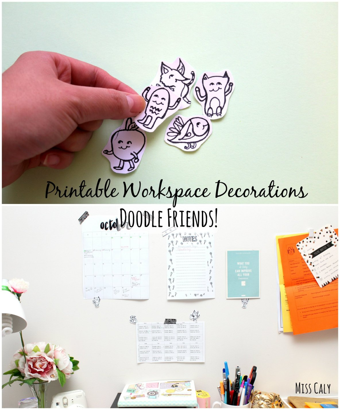 Cute Printable Doodle Friends! They are here to brighten your day and are great for decorating your workspace