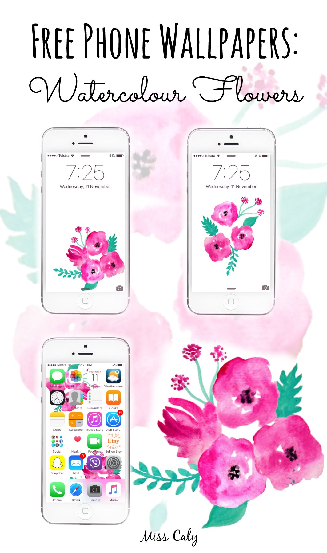 Free Phone Wallpapers - Watercolour Flowers! By Miss Caly