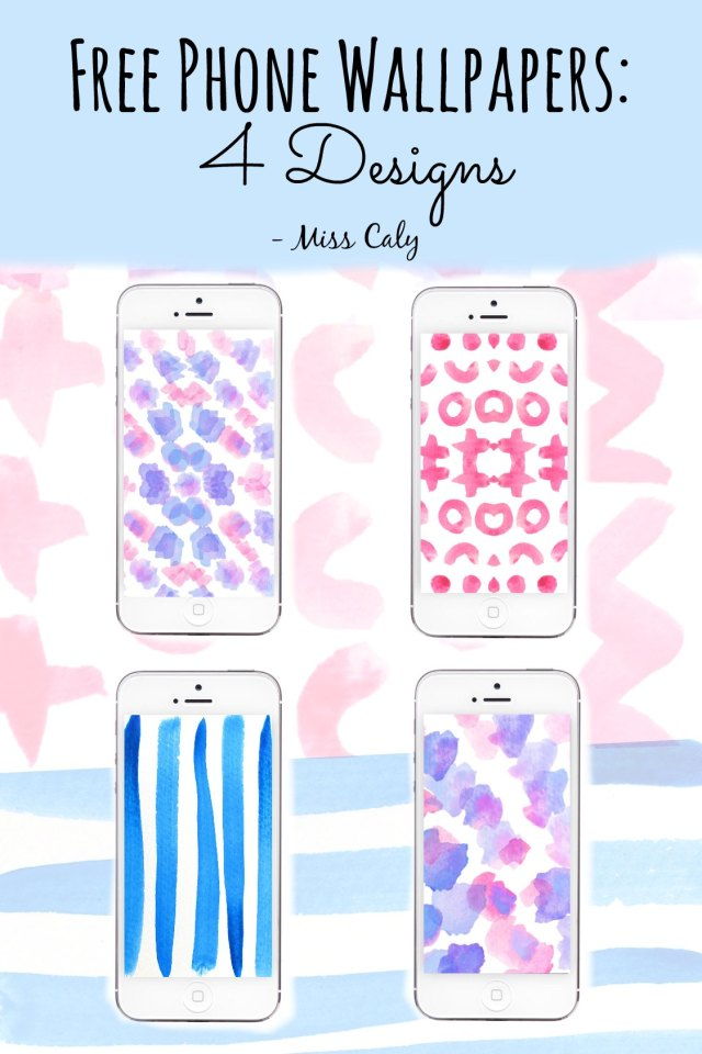 Free Watercolour Phone Wallpapers - 4 Designs by Miss Caly