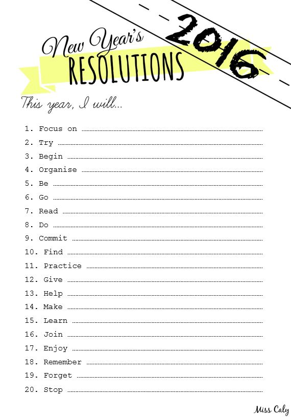 Free printable 2016 new years resolutions with prompts - Miss Caly
