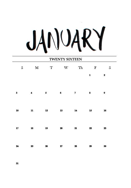 Typography Printable Calendar : Free printable january calendar m i s c a l y