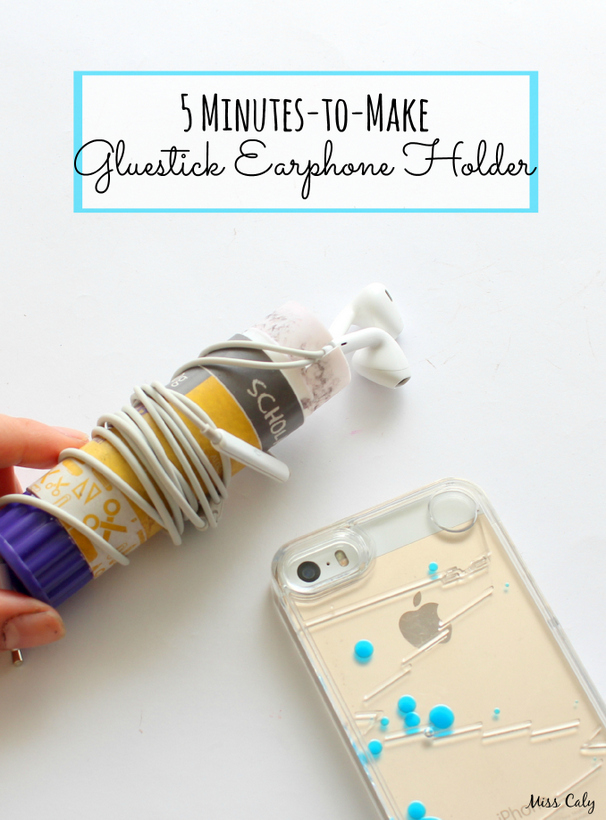 Upcycle an old gluestick for a DIY earphone holder! - By Miss Caly