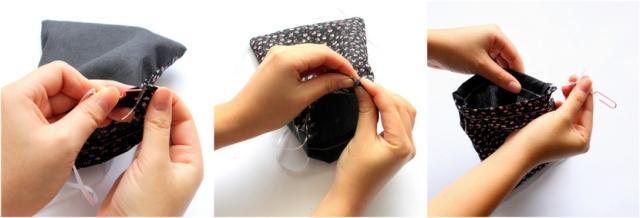 DIY easy drawstring pouch! Step 7