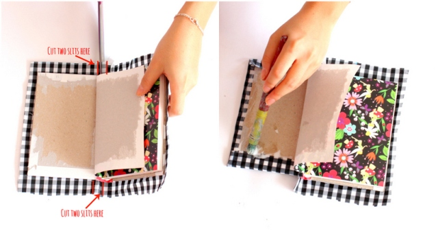 DIY fabric notebook cover - Step 5