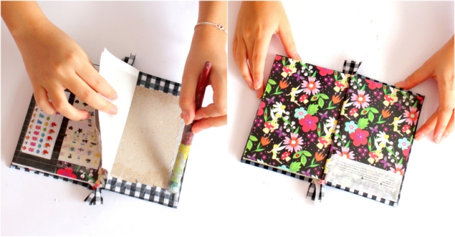 DIY fabric notebook cover - Step 7