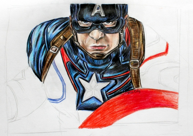Drawing Captain America - By Miss Caly  (1)