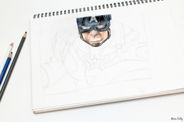 Drawing Captain America - By Miss Caly  (3)