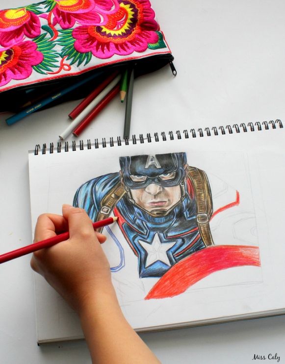 Drawing Captain America - By Miss Caly  (5)