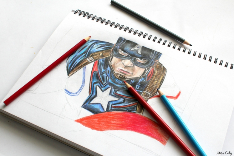 Drawing Captain America - By Miss Caly  (6)