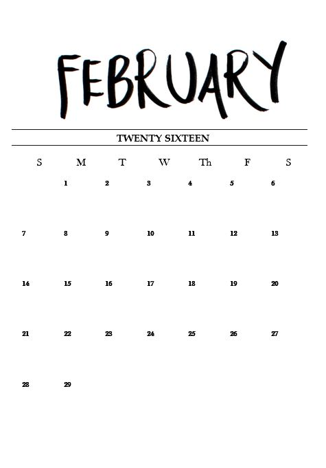 Free Printable Hand Lettered February Calendar 2016! - Miss Caly