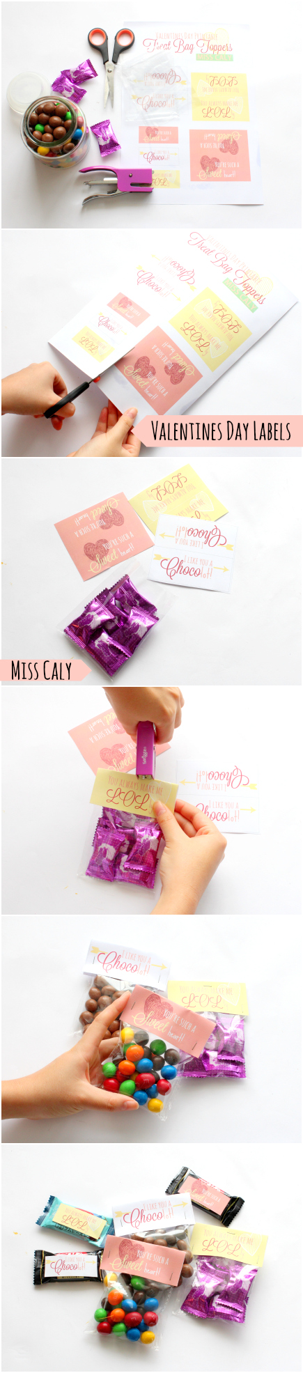 Free Printable Valentines Day Treat Bag Topper - Miss Caly