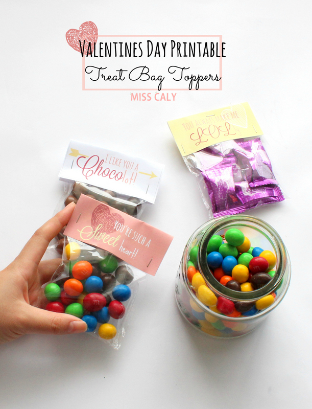 Free Printable Valentines Treat Bag Topper - Miss Caly
