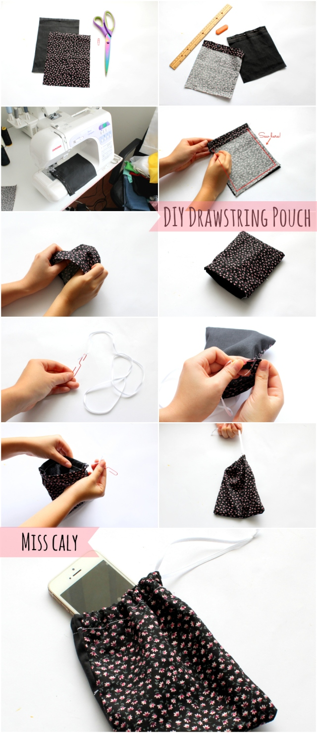Step by step tutorial on how to make an easy drawstring pouch! - Miss Caly