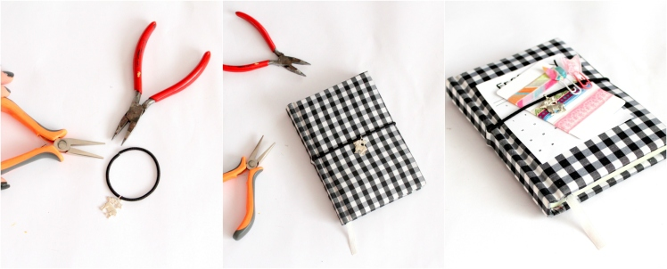 DIY Notebook Elastic using a hair tie - Miss Caly
