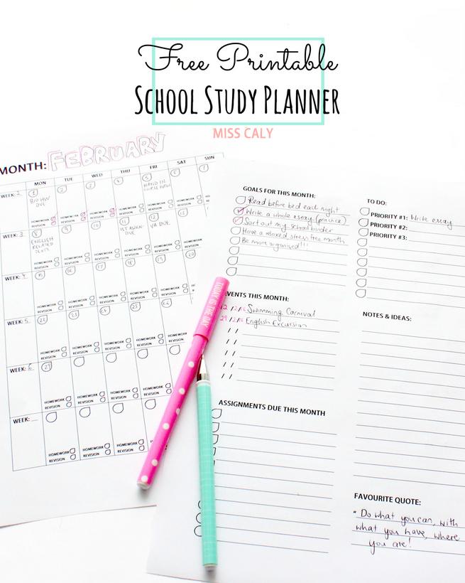 Free Printable School Month Planner Organiser - Miss Caly
