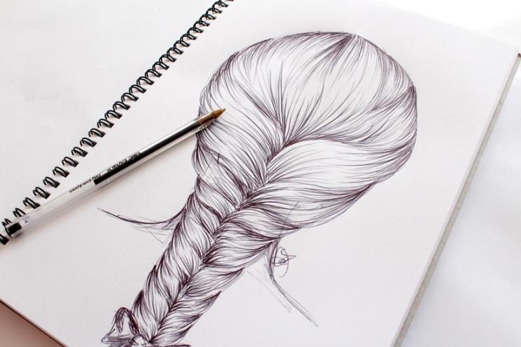 how to draw a hair braid � step by step � m i s s c a l y