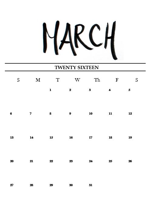 Printable March calendar 2016 - lovingly hand lettered and designed by Miss Caly!