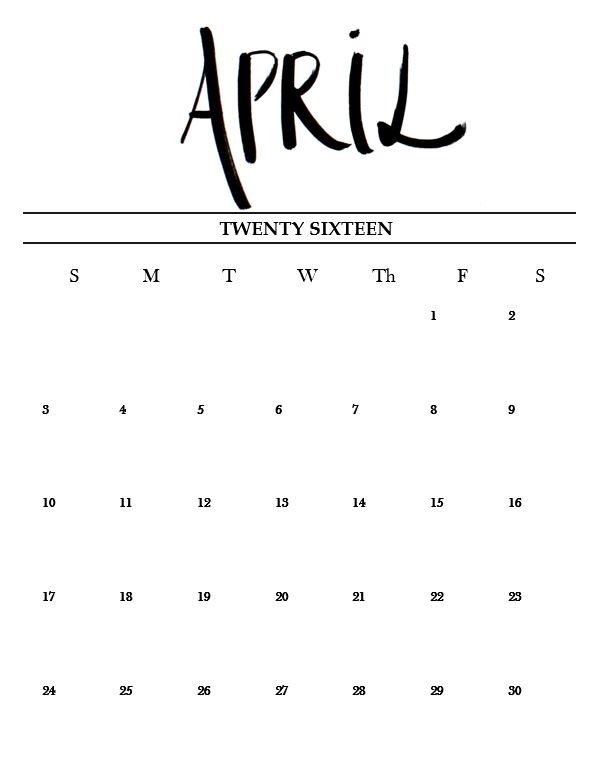 Free Printable April Calendar 2016! - Miss Caly