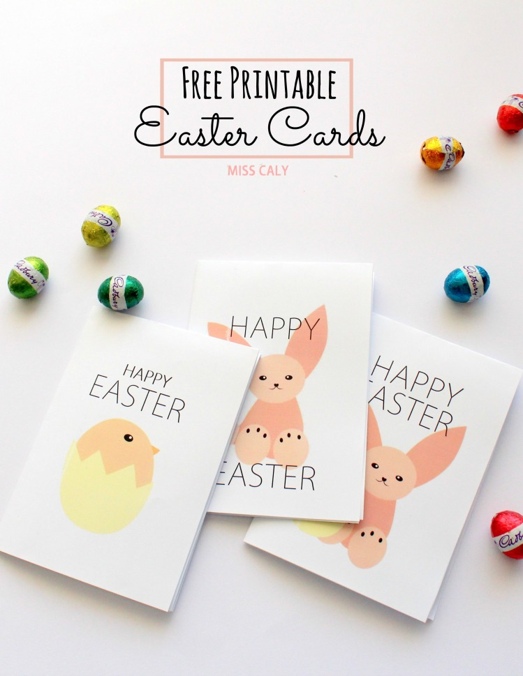 Free Printable Easter Cards! Rabbit and Chick Friends - Designed by Miss Caly