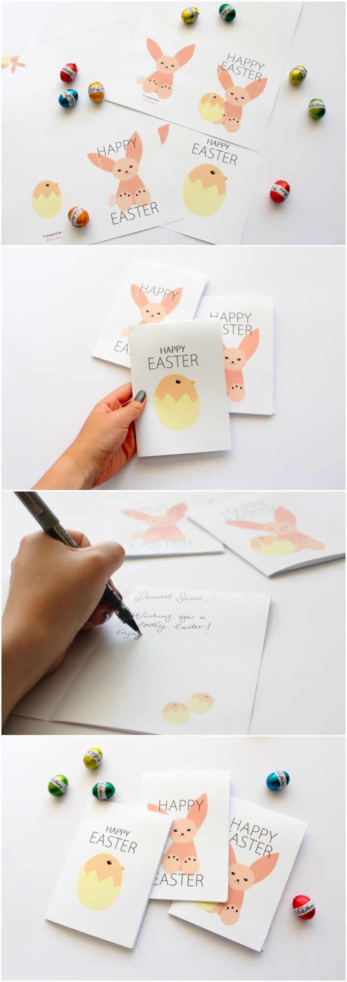 Printable Easter Cards! Rabbit and Chick Friends - Designed by Miss Caly