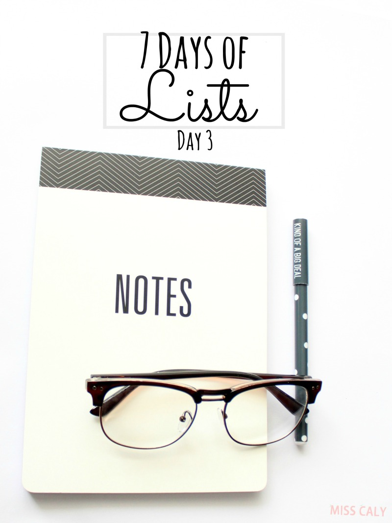 Take this fun 7 day challenge to write lists, lists and lists! Day 3 - Miss Caly