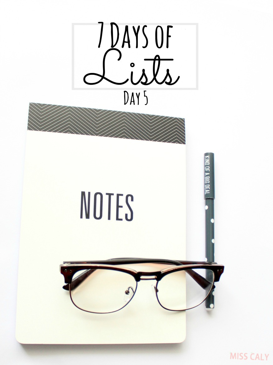 Take this fun 7 day challenge to write lists, lists and lists! Day 5 - Miss Caly
