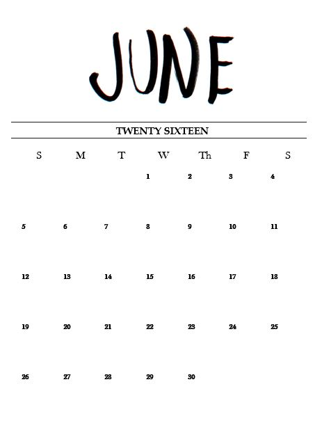 Free Printable Hand Lettered June Calendar 2016! - Miss Caly