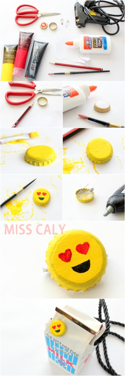 How to make a cute emoji pin out of a bottle cap! - Miss Caly