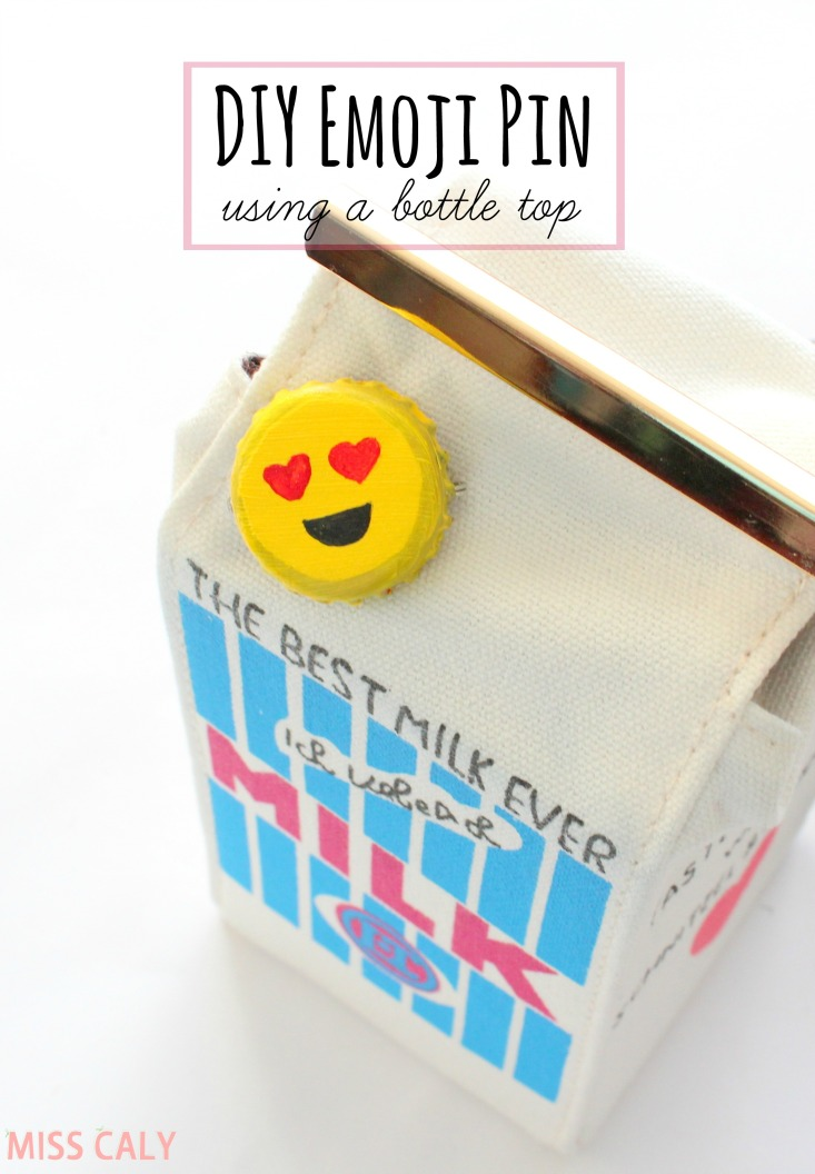 Make a cute emoji pin out of a bottle cap! - Miss Caly