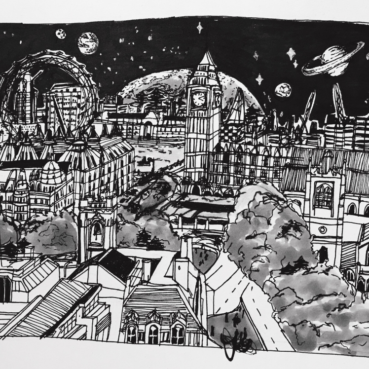 London Night Sky Drawing Miss Caly