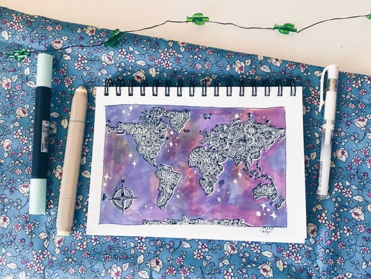 how to draw the world map! miss caly