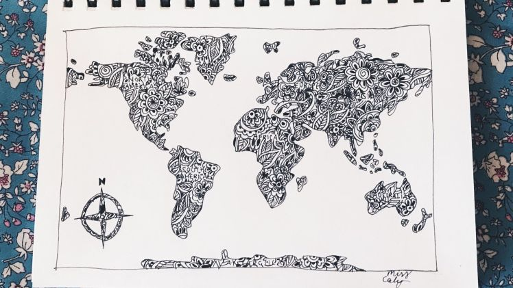 how to draw the world map - miss caly