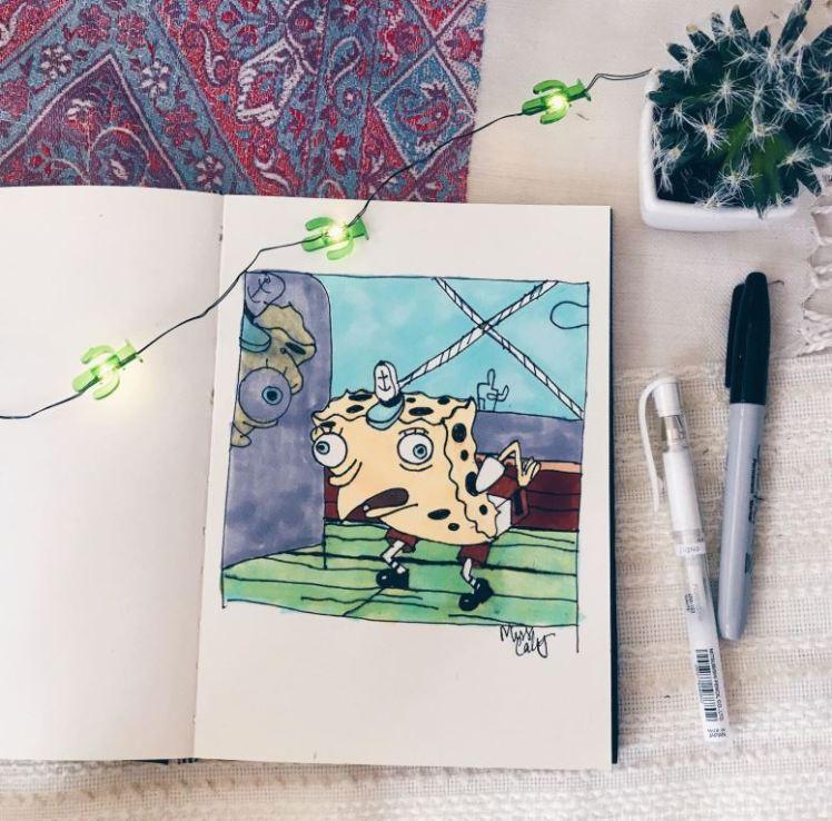 the spongebob meme drawing miss caly
