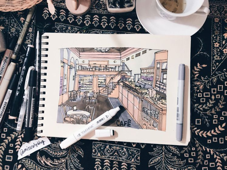 Cafe Drawing @misscalyblog