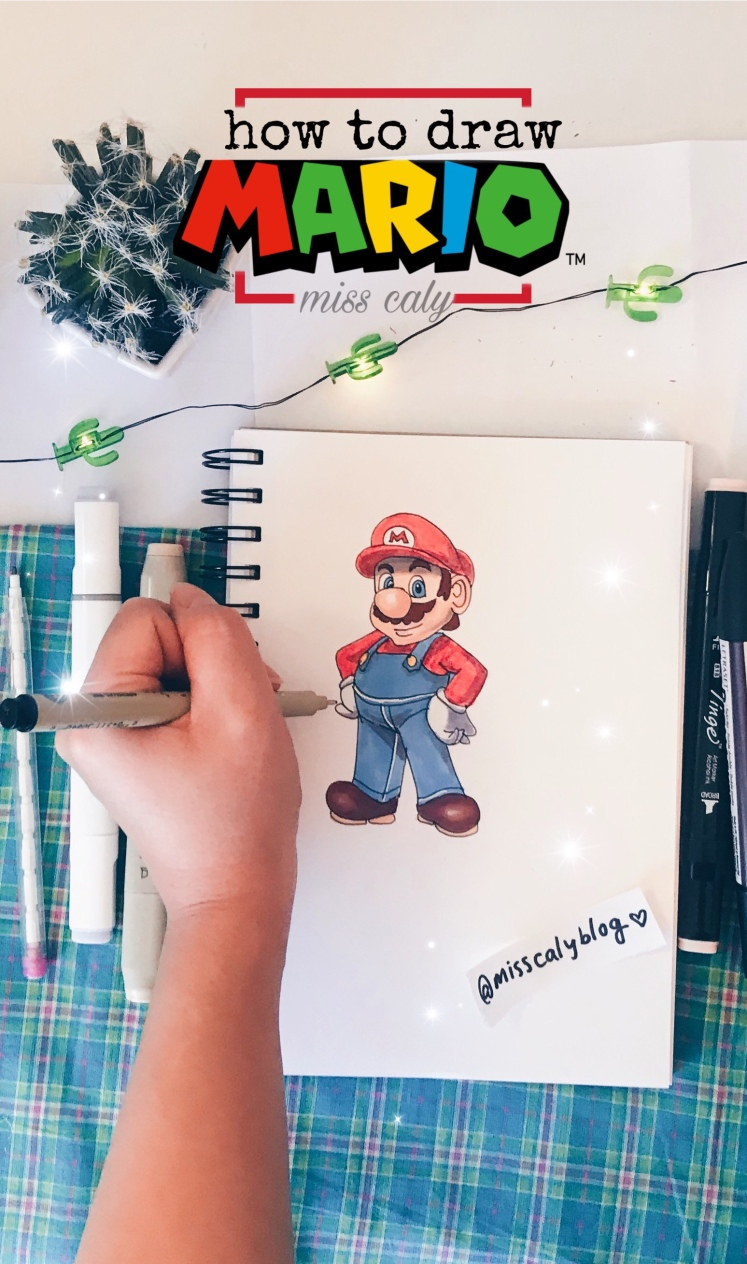 How to draw mario for beginners @misscalyblog