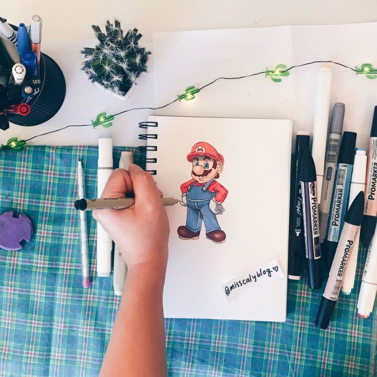 How to draw mario for beginners! @misscalyblog